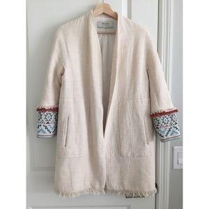 Zara Linen Coat Bohemian Sz XS